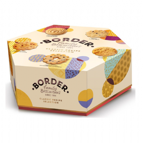 Classic Recipe Selection Hexagonal Box Cookies - Border Biscuits 500g